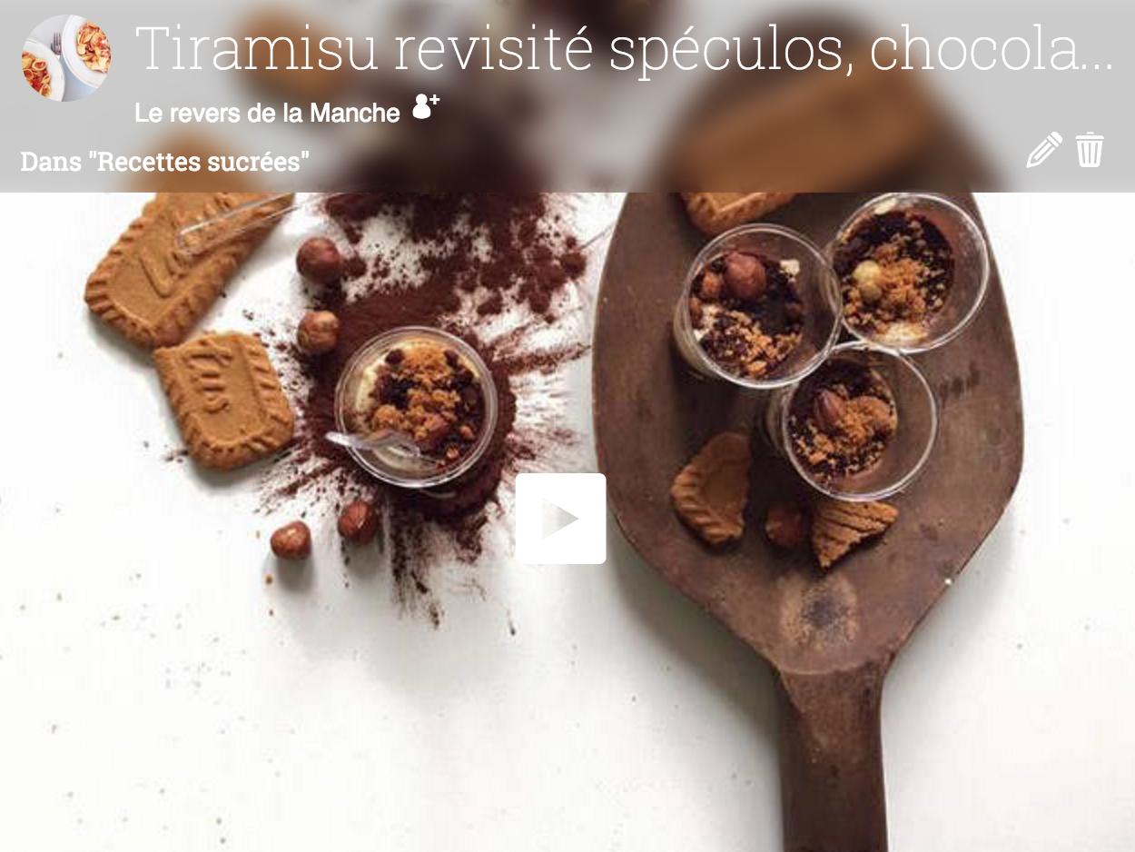 Tiramisu chocolat, spéculos et noisettes